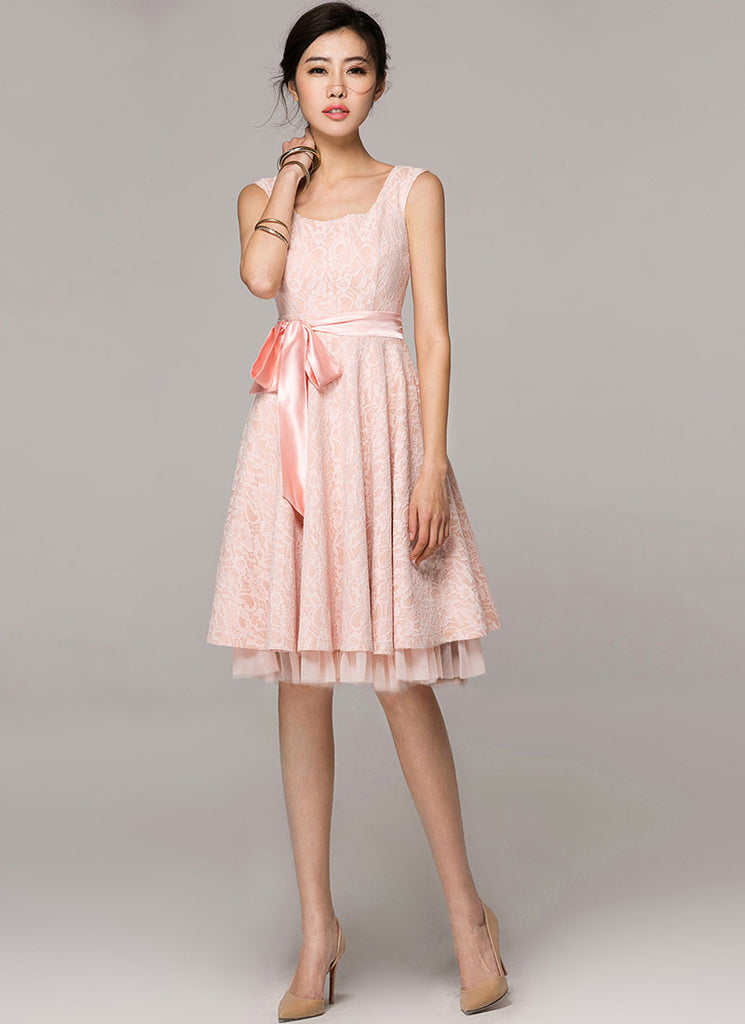 Dusty Rose Pink Lace Fit and Flare Mini Dress with Layered Skirt RD334