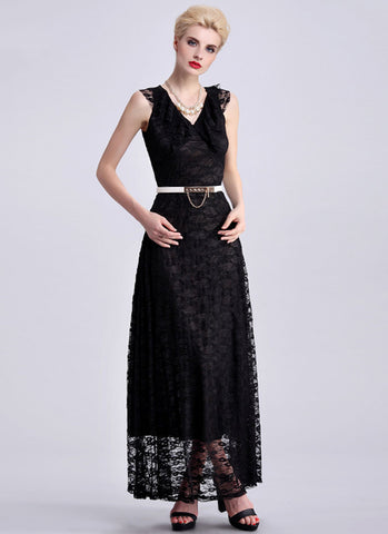 Black Lace Maxi Dress with Draped Neckline RM410