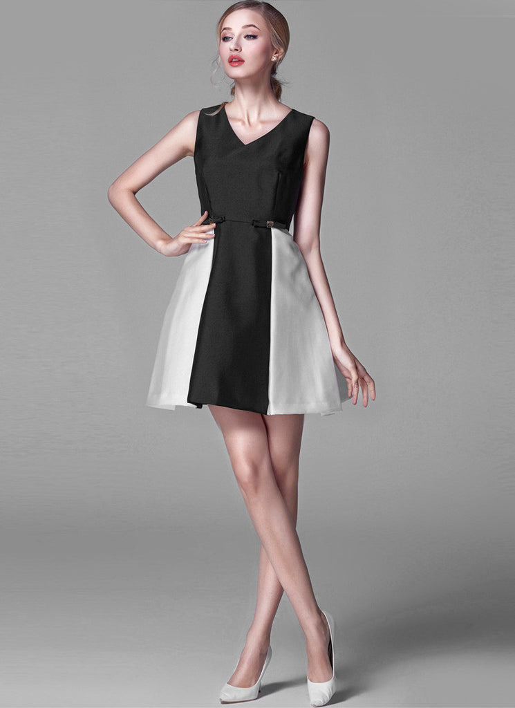 Contrast Colored Black and Gray Satin Mini Dress