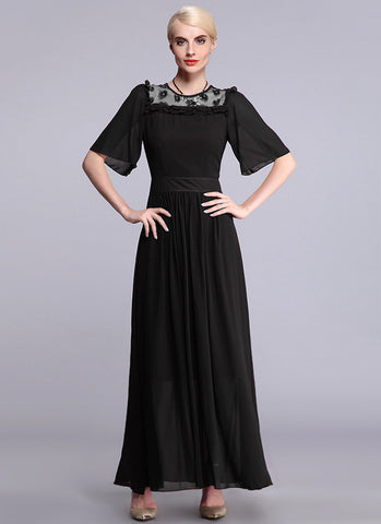 Black Chiffon Maxi Dress with 3D Floral Appliqué Details and Elbow Sleeves RM534B
