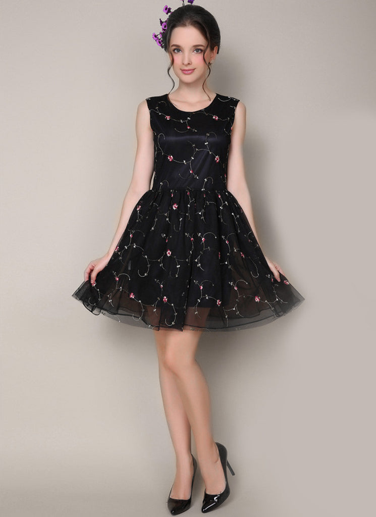 Black Tulle Mini Dress with Pastoral Floral Embroidery