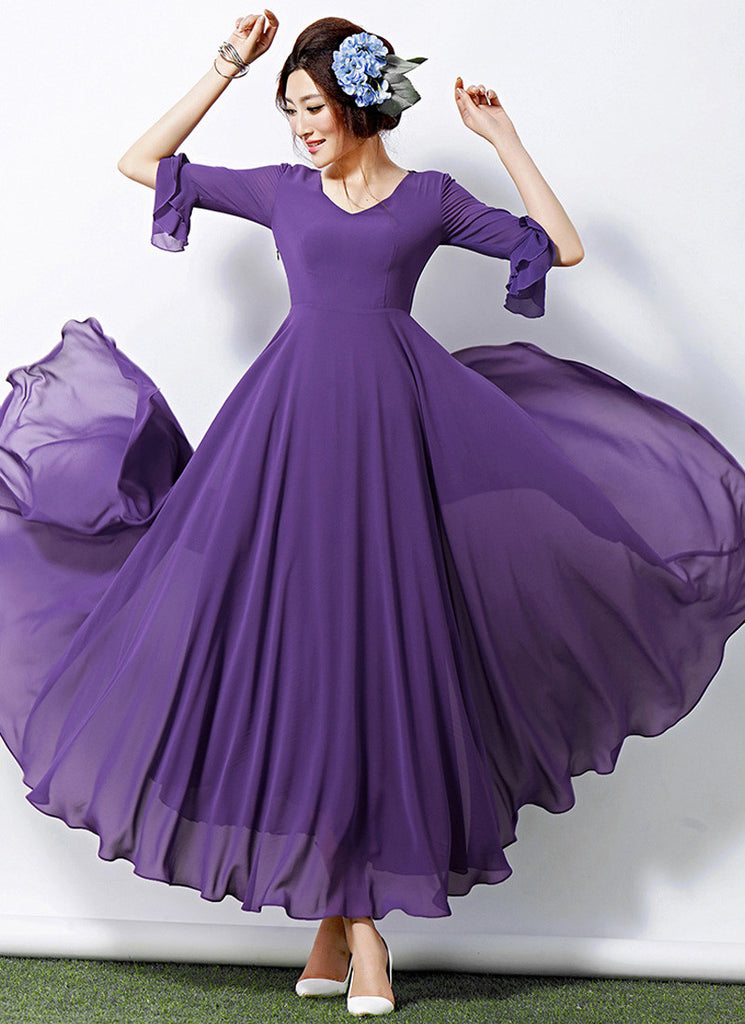 V Neck Pale Purple Maxi Dress with Layered Three Quarter Lantern Sleeves