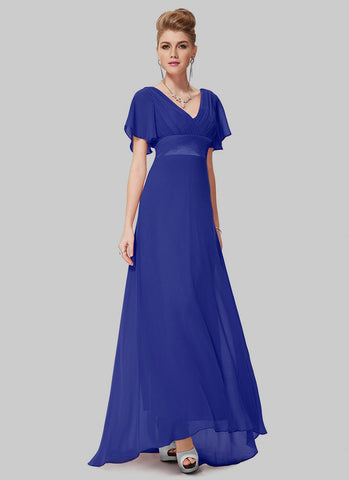 Empire Waisted Sapphire Blue Maxi Dress with Flutter Sleeves RM459