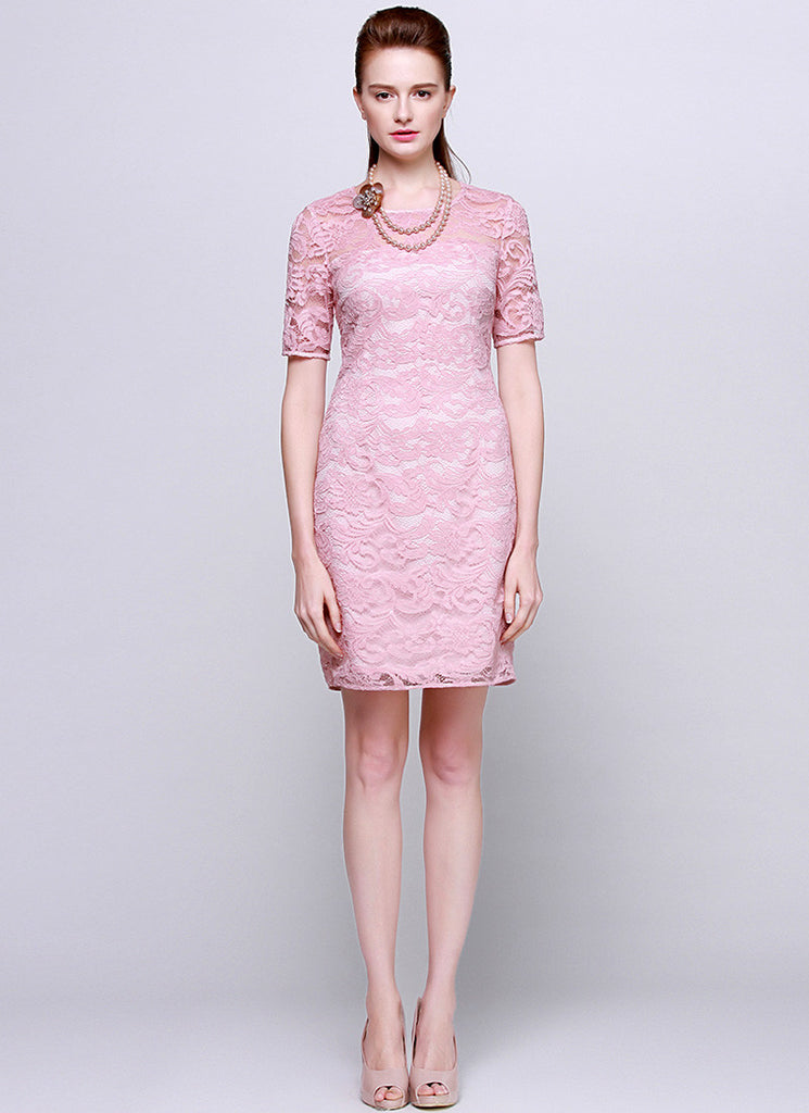 Light Pink Lace Sheath Mini Dress with Elbow Sleeves