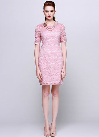Light Pink Lace Sheath Mini Dress with Elbow Sleeves RD544