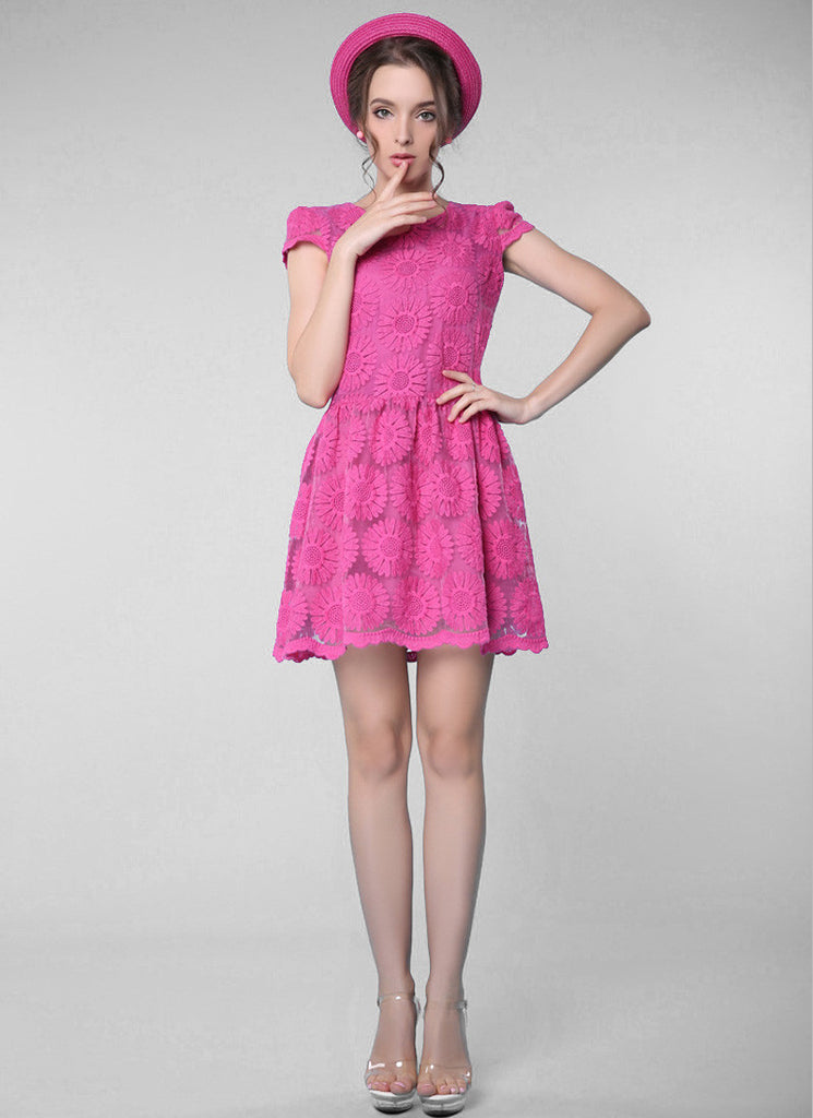 Deep Pink Sunflower Lace Aline Mini Dress with Cap Sleeves