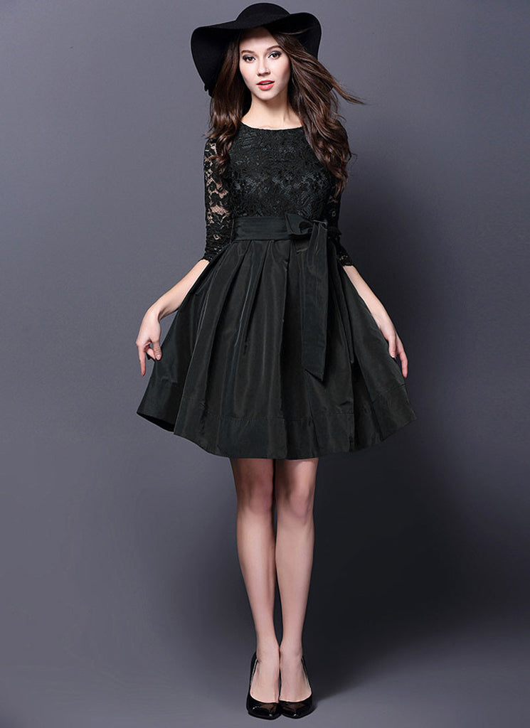 Black Lace Satin Mini Dress with V Back and Sash