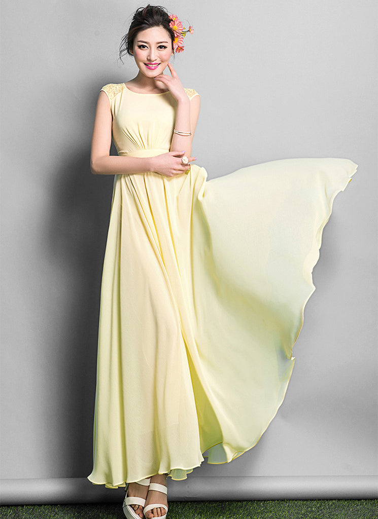 Yellow Chiffon Maxi Dress with Lace Details on Shoulder