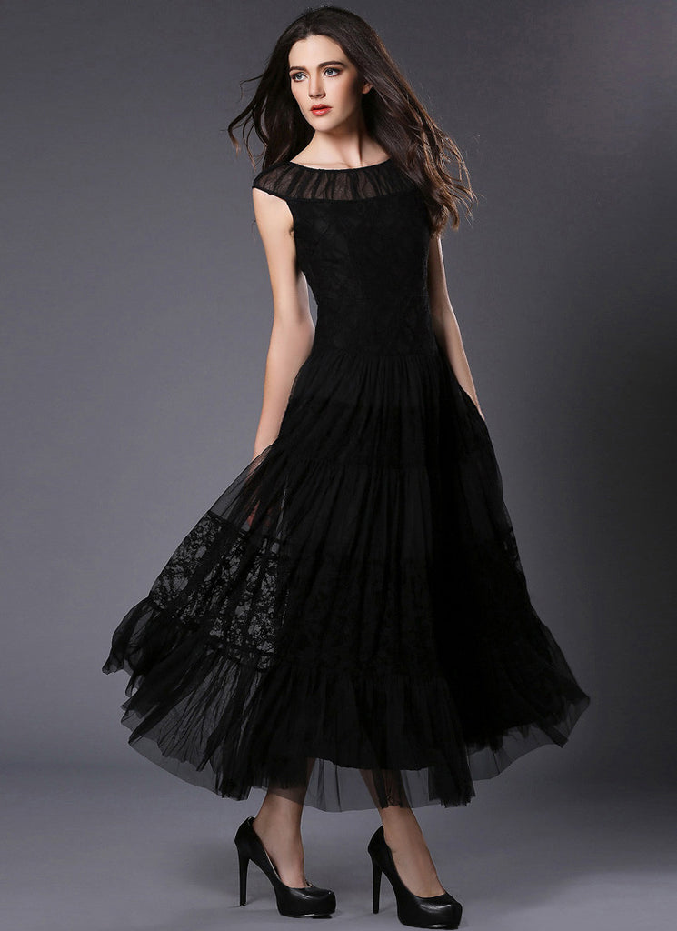 Black Lace Chiffon Maxi Dress with Layered and Ruffled Details