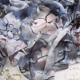 Abstract painting Silk Chiffon Scarf - Water and Ink painting Silk scarf -  Floral Printed Silk Georgette Scarf Shaw - 2017-8