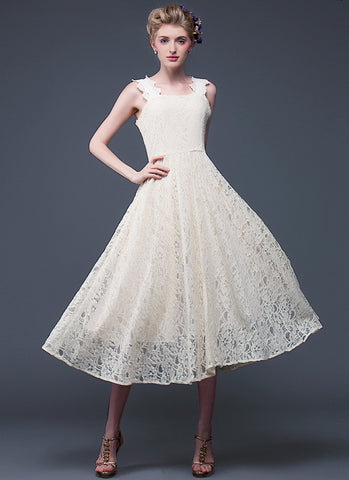 Champagne Lace Midi Dress with Square Neck and Back RM596