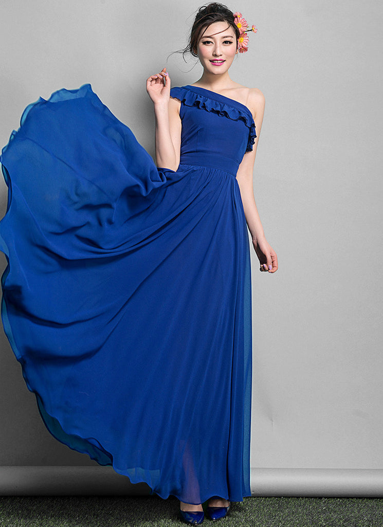 Blue One Shoulder Maxi Dress with Flounce Neck