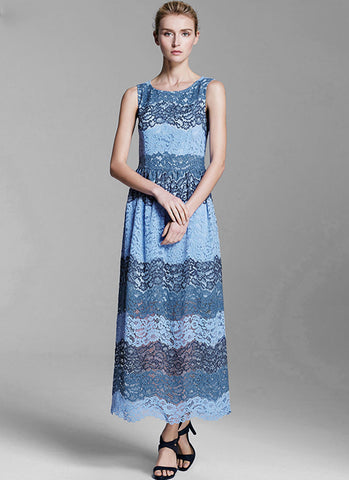 Sleeveless Blue Aline Maxi Dress with Color Panel Structure and Scalloped Hem MX52
