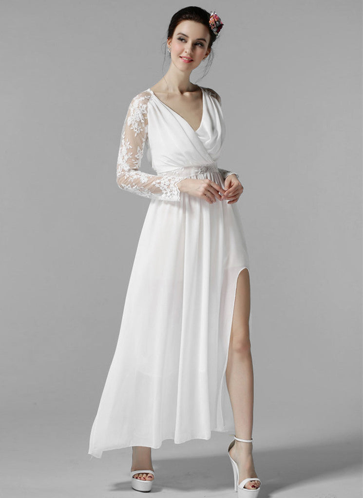 Long Sleeved White Lace Chiffon Maxi Dress with V Neck and Faux Surplice Bodice