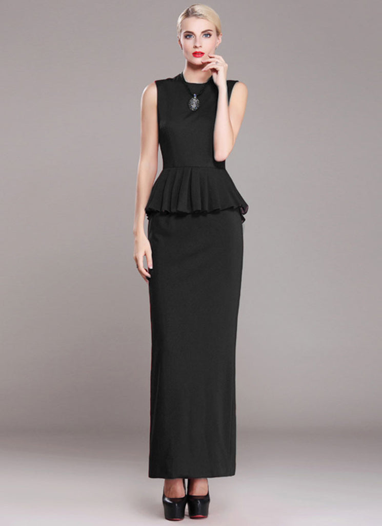 Sleeveless Black Sheath Maxi Dress with Peplum