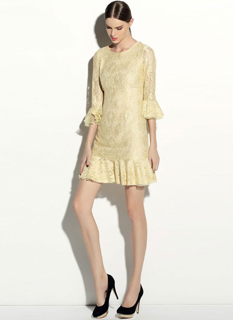 Pale Yellow Lace Mini Dress with Trumpet Sleeves and Flounce Hem