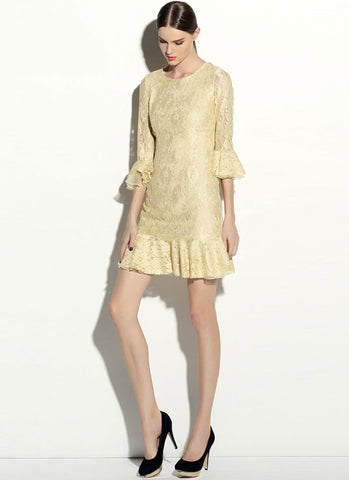 Pale Yellow Lace Mini Dress with Trumpet Sleeves and Flounce Hem RD368