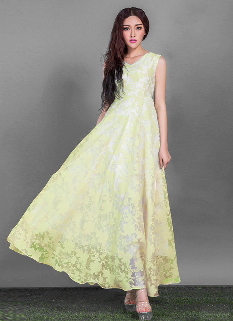 V Neck Yellow Organza Lace Maxi Dress with Pleated Waist and White Lining