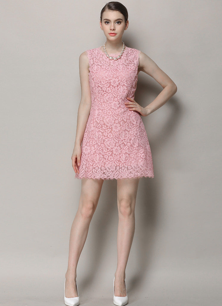 Sleeveless Pink Lace Mini Dress with Scalloped Hem and Angled Pockets
