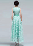 Light Green Organza Lace Maxi Dress with V Neck and Pleated Waist
