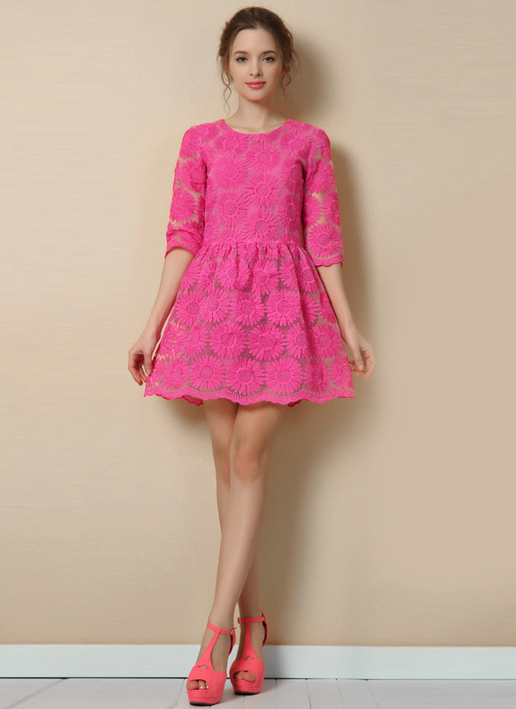 Deep Pink Sunflower Lace Aline Mini Dress with Elbow Sleeves