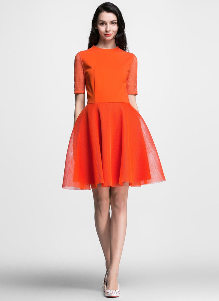 Orange Tulle Mini Fit and Flare Dress with Elbow Sleeves