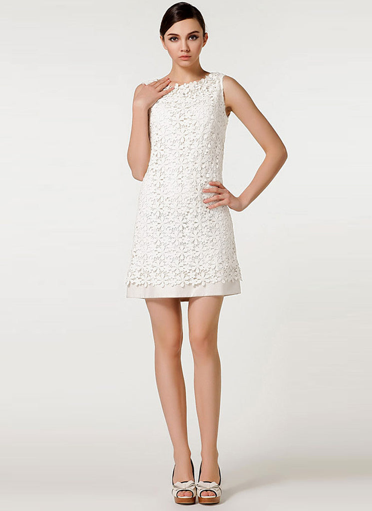 White Lace Satin Mini Dress with Layered Hem