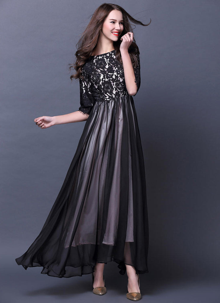 Black Lace Chiffon Maxi Dress with Contrast White Lining