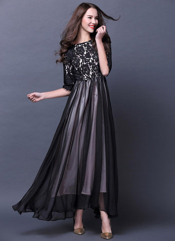Black Lace Chiffon Maxi Dress with Contrast White Lining RM571