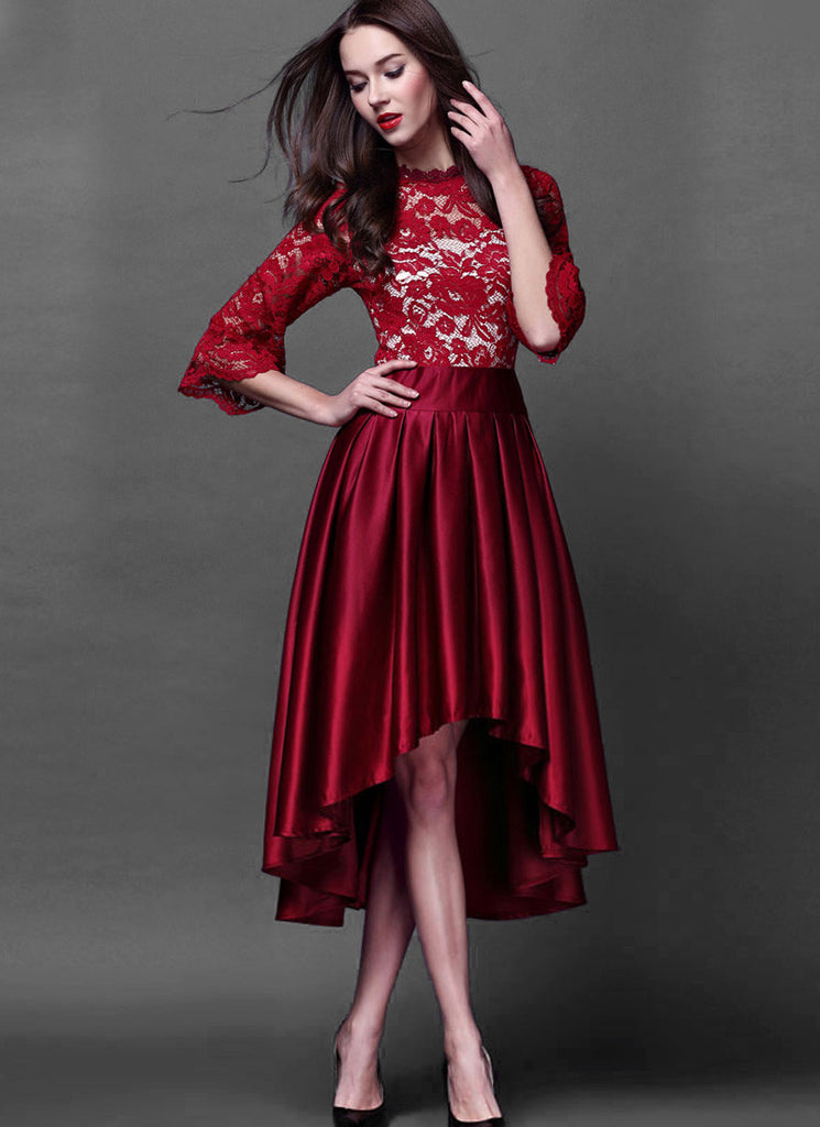 Red Lace Satin Hi Low Hem Dress Mixi Dress with White Lining