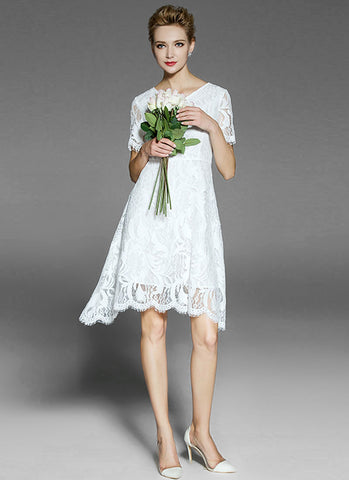 Asymmetric White Lace Mini Dress with V Neck and Scalloped Hem MN32