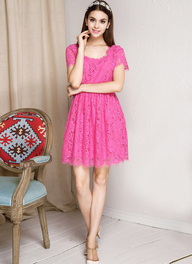 Deep Pink Lace Fit and Flare Mini Dress with Square Neck and Back