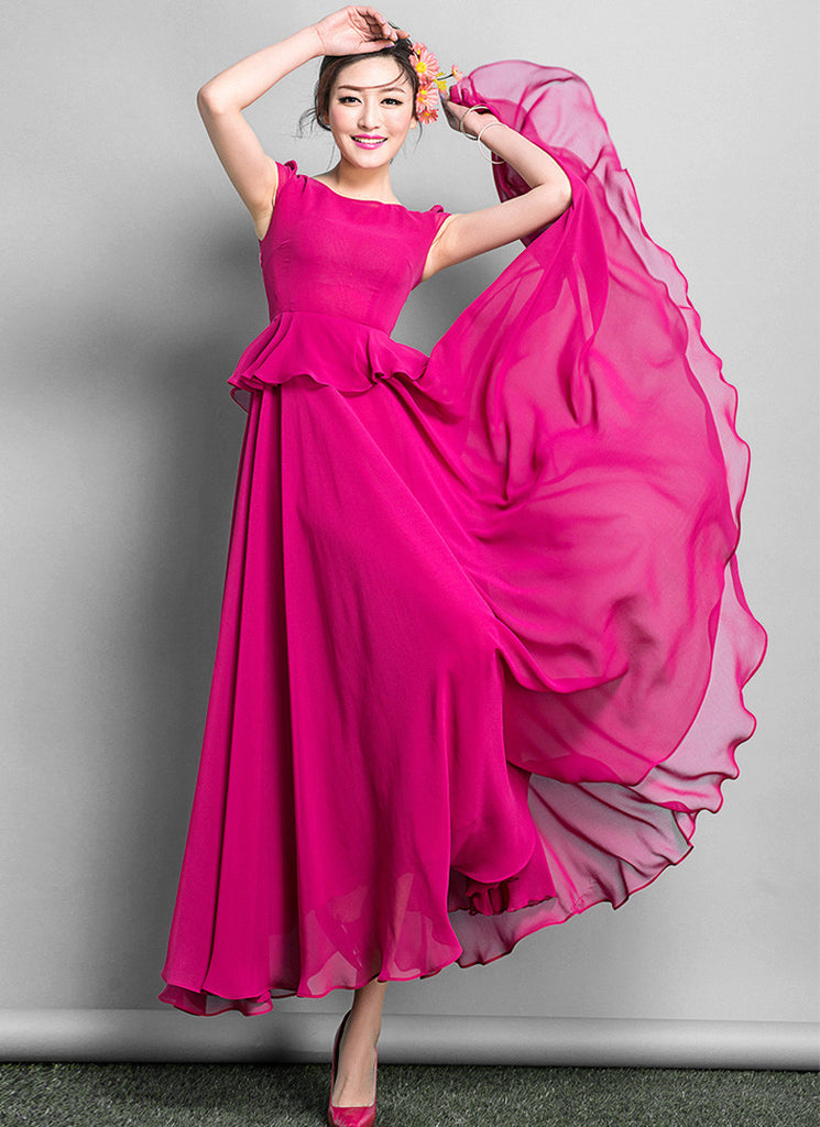 Deep Pink Peplum Maxi Dress with Cap Sleeves RM639