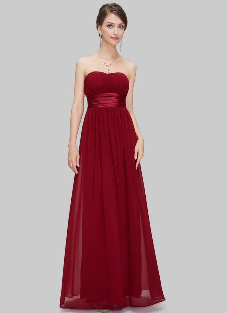 Maroon Strapless Maxi Dress with Satin Waist Yoke