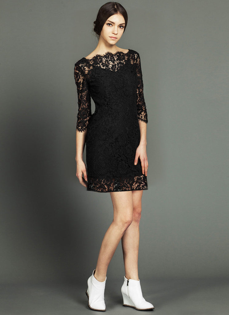 Black Lace Mini Dress with Sabrina Neck and Eyelash Details