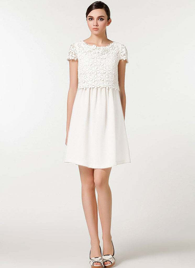 White Lace Chiffon Mini Fit and Flare Dress with Scalloped Peplum