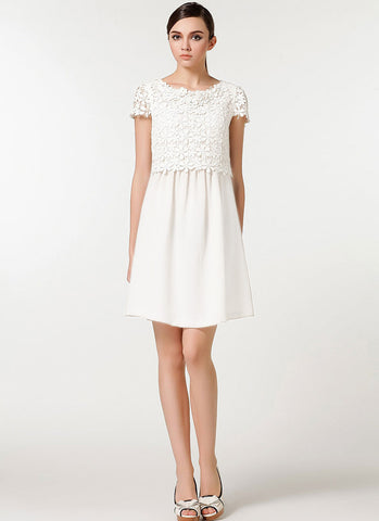 White Lace Chiffon Mini Fit and Flare Dress with Scalloped Peplum RD558