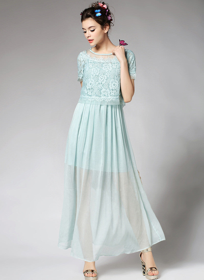 9333a4f39047 Pale Aqua Lace Chiffon Peplum Maxi Dress with Eyelash Details RM599 ...