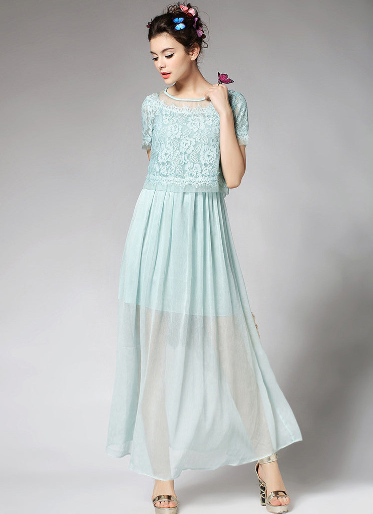 Pale Aqua Lace Chiffon Peplum Maxi Dress with Eyelash Details