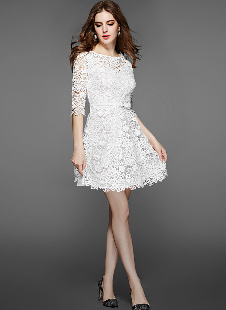 White Lace Mini Fit and Flare Dress with Floral Scalloped Hem
