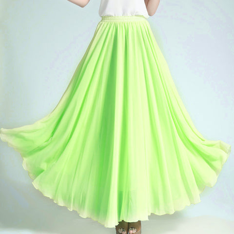 Lawn Green Chiffon Maxi Skirt with Extra Wide Hem - Long Chartreuse Chiffon Skirt - SK5k1