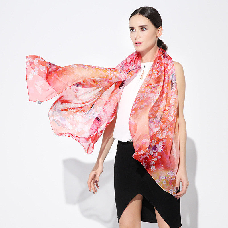 Digital Printed Silk Chiffon Scarf - Light Coral Silk Scarf with Cherry Blossom Floral Print - PS2-4