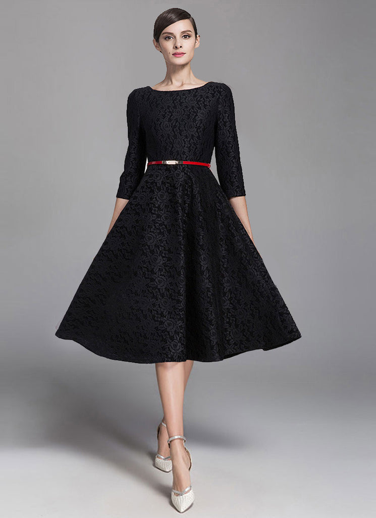 Three Quarter Sleeved Black Lace Fit and Flare Midi Dress