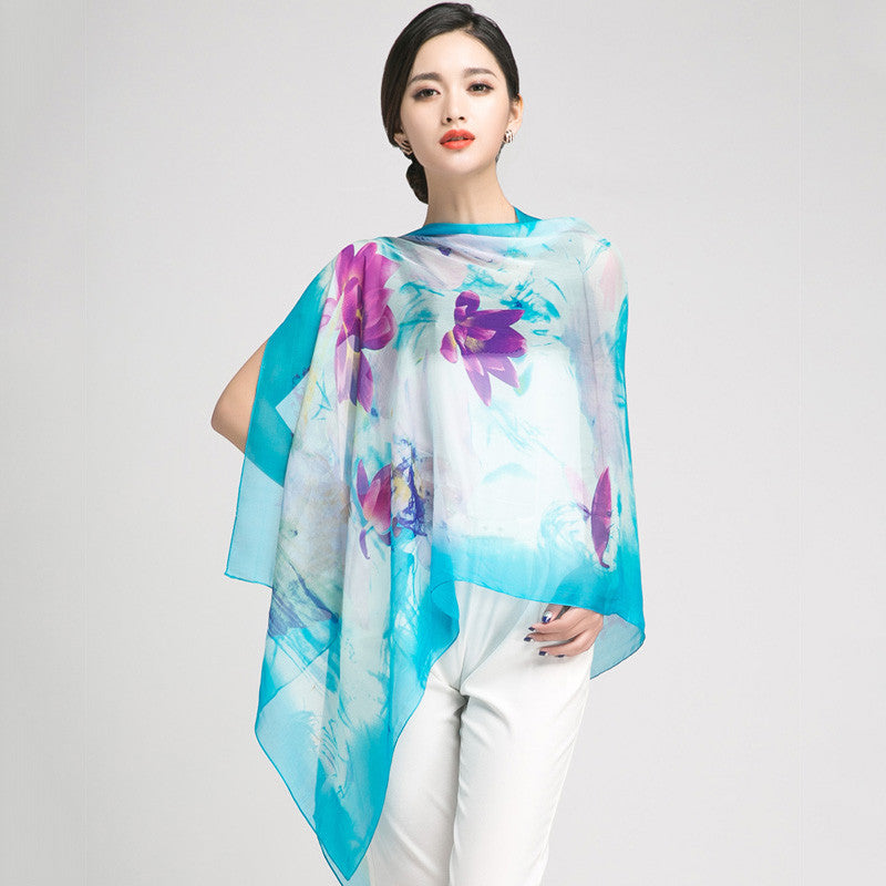 Aqua Blue Silk Chiffon Scarf with Oriental Lotus Print - Large Cyan Silk Georgette Scarf Shaw PS3-4