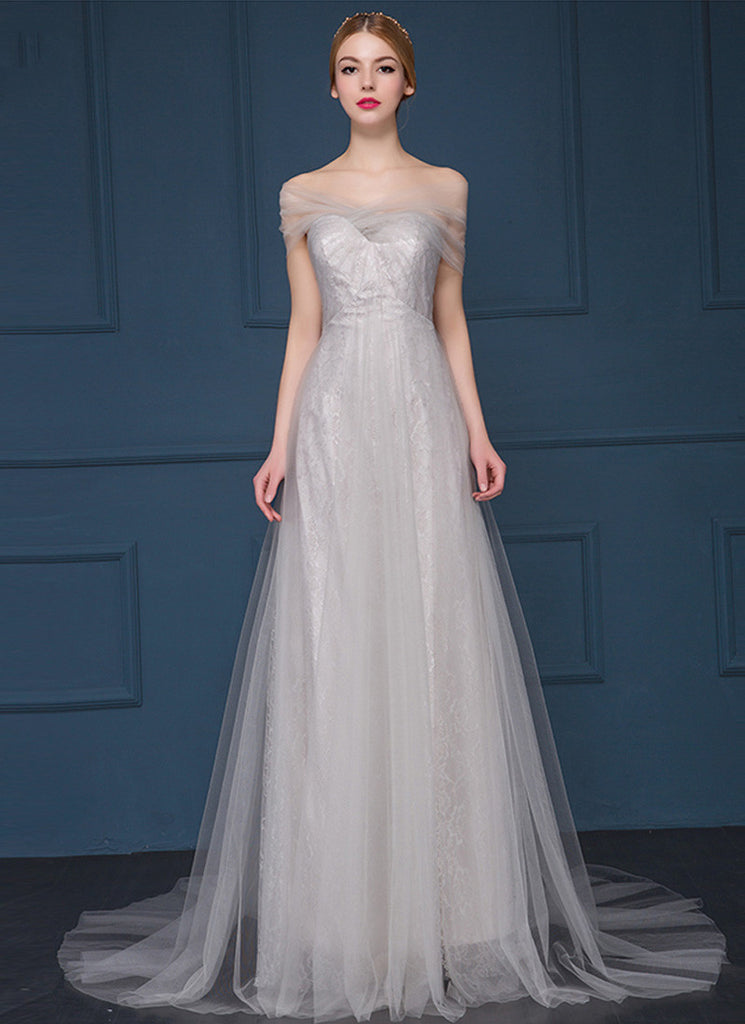 Light Gray (Grey) Lace Evening Gown with Sheer Tulle Overlay