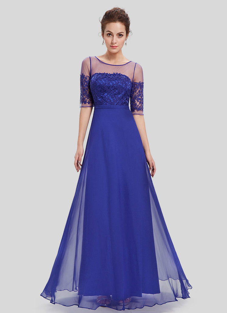 Blue Lace Organza Chiffon Maxi Dress with V Back