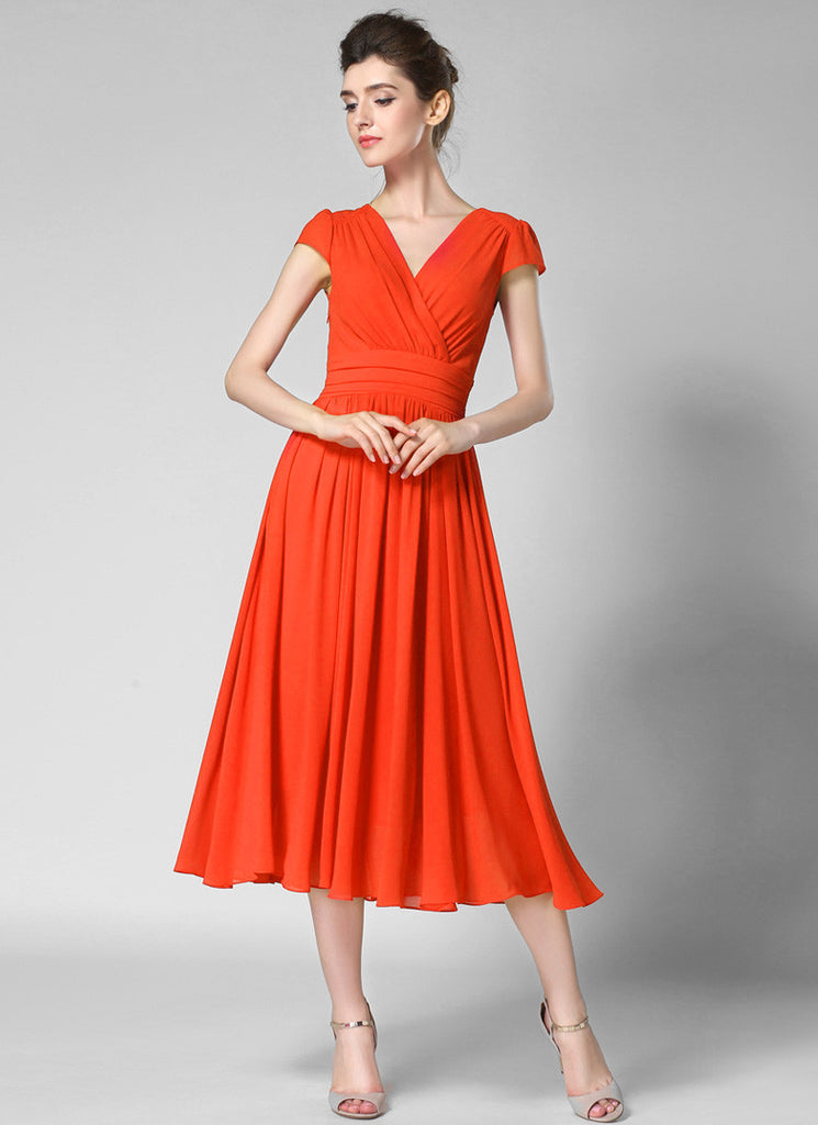 V Neck Orange Midi Chiffon Dress with Cap Sleeves and Ruched Waist Yoke