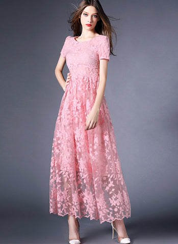Coral Pink Organza Lace Maxi Dress with Scalloped Hem - RM538P