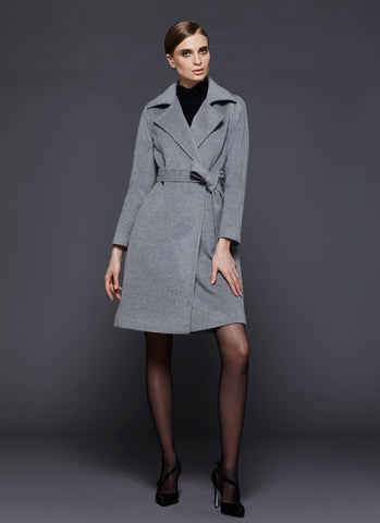 Light Gray Short Cashmere Wool Coat RB106