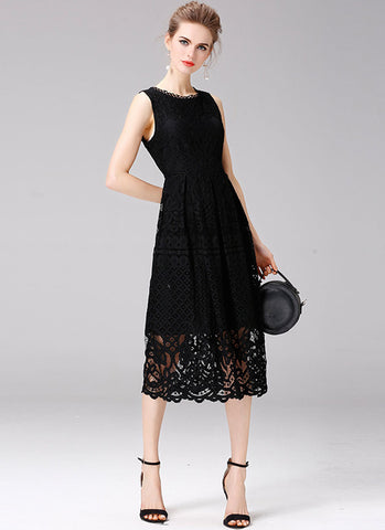 Black Lace Aline Midi Dress with Scalloped Hem and NeckMD32